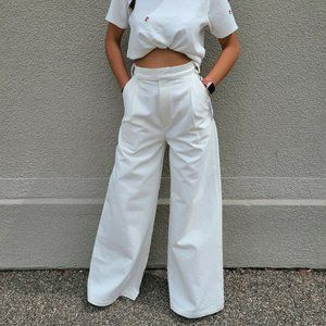 GOLDSIGN Ivory Pearl Ultra Wide Leg Trouser Jeans
